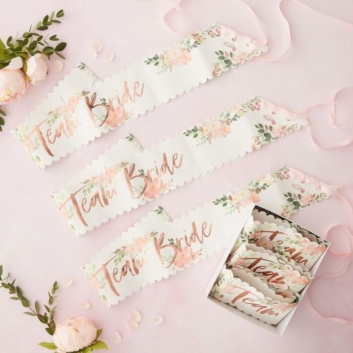 Sash Team Bride - Floral Hen 6-pack