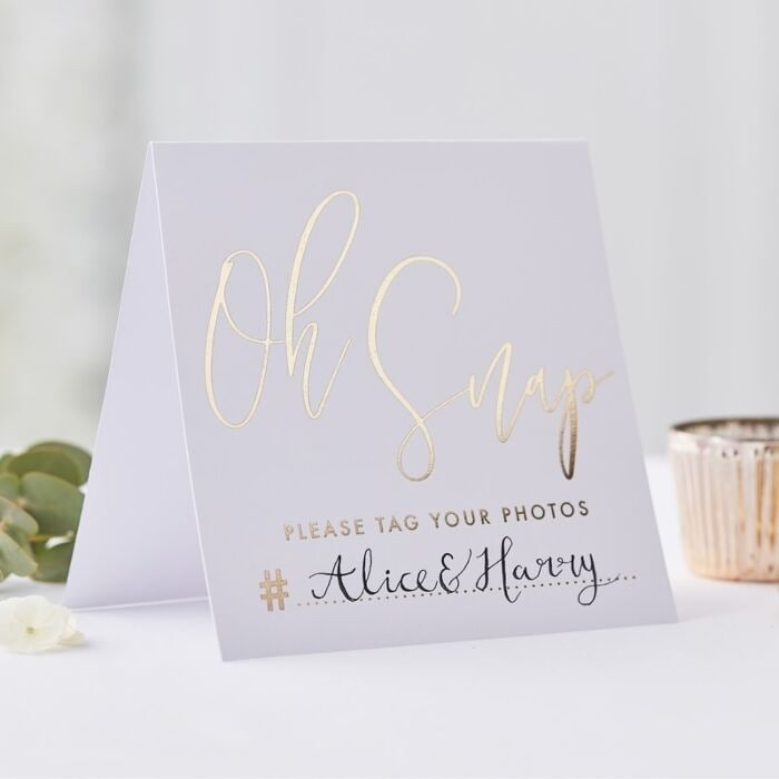 Instagramskylt - Gold Wedding 5-pack