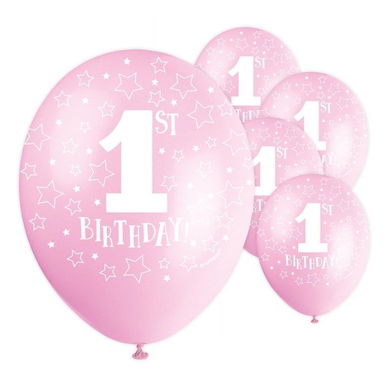 ballong 1 år Ballonger, 1 år 5 pack rosa ballong 1 år